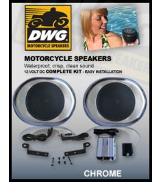 DWG (1016A) Waterproof LOUD Speaker Kit with Amp, Chrome
